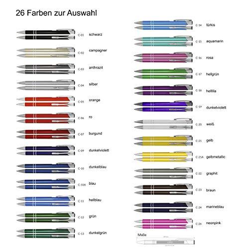 Creativgravur Aluminium - Kugelschreiber Cosmo Lasergravur Sortenrein o. Gemischt Einheitl. Gravur 26 Farben - Menge:100 Stück