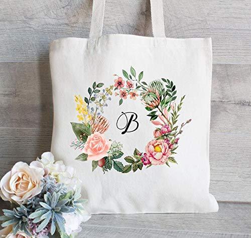unknow Borsa a secchiello per matrimonio, corona floreale con nome, borsa per matrimonio personalizzata, borsa da damigella d'onore, regalo per damigella d'onore, monogramma tote bag