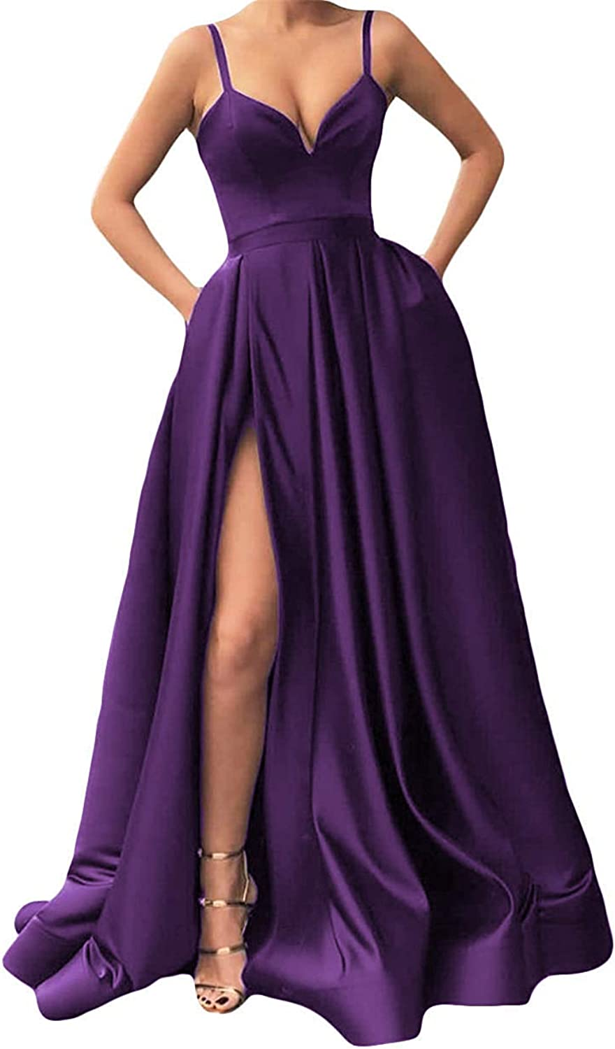 Annadress Women's A Line Prom Dresses Spaghetti Straps Evening Gowns Prom Party Gowns