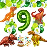 Decoracion Cumpleaños Dinosaurios, Globos de Cumpleaños Dinosaurios, Globo Numero 9 Verde, Globos Dinosaurios, Globos de Cumpleaños 9 Años, Globos Grandes Gigantes Helio