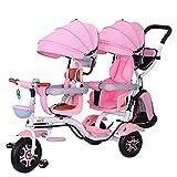 CHEERALL Triciclo Doble para niños 4 en 1 Trike, Cochecito Doble, Bicicleta de Dos Asientos y 3 Ruedas para niños con Asiento Giratorio, Carrito Infantil para niños de 6 Meses a 6 años,C