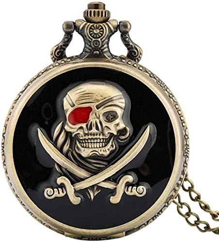 huangxuanchen co.,ltd Reloj de Bolsillo de Cuarzo Pirata con Calavera de Bronce Retro Negro con Colgante de Collar de Cadena Los Mejores Regalos para Hombres y Mujeres como coleccionables