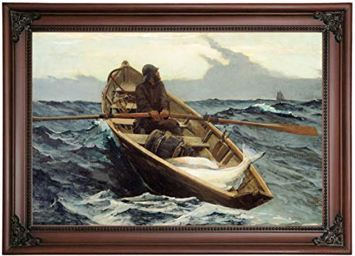 Historic Art Gallery The Fog Warning/Halibut Fishing 1885 by Winslow Homer Framed Canvas Print, Size 12x18, Brown