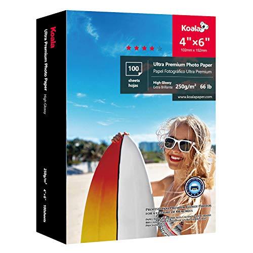 KOALA Glänzendes Inkjet Fotopapier, 10x15 cm, 250g/m², 100 Blatt, mit Premium Hochglanz Advanced Kunstharz beschichtet, für Canon HP Epson Tintenstrahldrucker