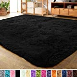 LOCHAS Ultra Soft Indoor Modern Area Rugs Fluffy Living Room Carpets for Children Bedroom Home Decor Nursery Rug 5.3x7.5 Feet, Black