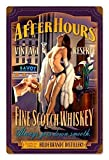Maizeco After Hours Scotch Pinup Girl Metal Tin Signs 8 x 12 Inch Plaque Poster Personalized for Garage Man Cave Shop Restaurants Beer Pub Wall Decor Sign