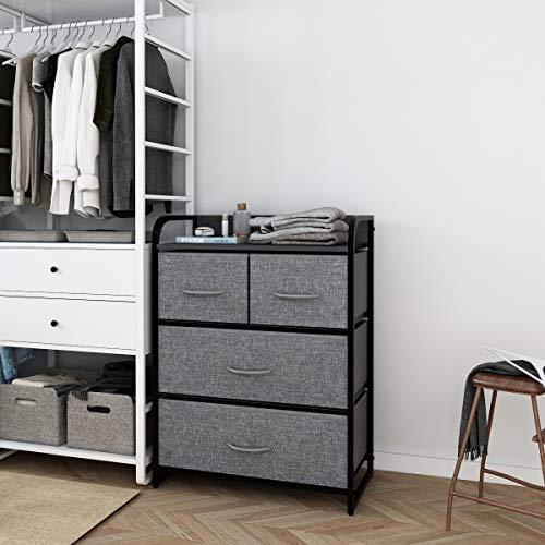 Kamiler 4-Drawer Dresser Storage, 3-Tier Organizer Tower Unit for Bedroom, Hallway, Entryway Closets - Sturdy Steel Frame, Wooden Top, Removable Fabric Bins