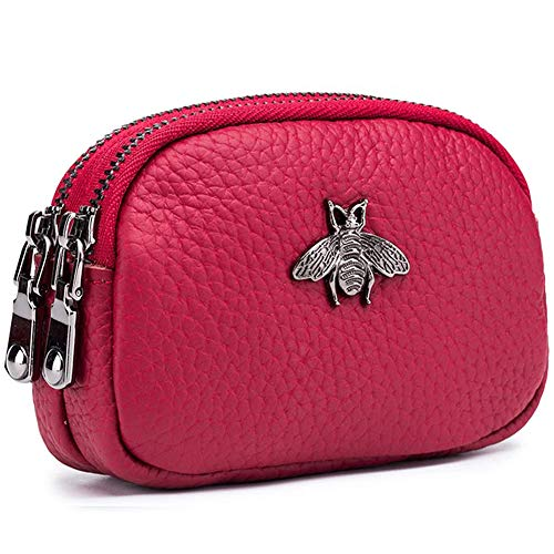 Monedero de Cuero Genuino para Mujer - Doble Cremallera Bolsa de Cambio de Abeja Monedero Portatarjetas Monedero Mini Simple Monedero Lindo útil para Damas Mujer (Vino Rojo)