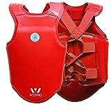 Juup Corpetto Protettivo Corpetti Boxe Costruito Pelle Microfibra Durevole Anti-Rughe Proteggi Il Tuo Petto da lesioni Costola Arti Marziali Protezione(Maschio),Red,M