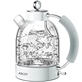 Electric Kettle, ASCOT Glass Electric Tea Kettle 1.7L, 1500W, Stainless Steel Tea Heater & Hot Water Boiler, Borosilicate Glass, BPA-Free, Cordless, with Auto Shut-Off and Boil-Dry Protection-White