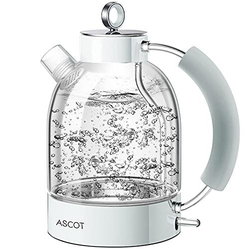 Wasserkocher Glas-ASCOT Elektrischer Wasserkocher Edelstahl, 2200W, 1,6L, Retro Design, BPA frei, leiser Schnellkochkessel, kabelloser Teekessel, Trockengehschutz und automatische Abschaltung (Weiß)