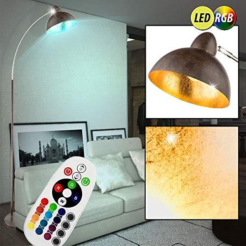 Stand Bogen Lampe Blatt-Gold Design Steh Leuchte FERNBEDIENUNG im Set inkl. RGB LED Leuchtmittel