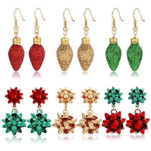 6pairs Christmas Drop Earrings Xmas Present Bow Earrings Glitter Light Bulb Dangle Earrings Christmas Jewelry Holiday Stud Earrings for Women Girls (style A)