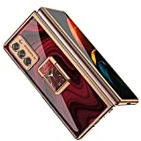 DOOTOO for Samsung Galaxy Z Fold 2 5G Case Luxury Plastic Plating Crystal Pattern Ring Holder Shockproof Protection Bumper Cover Case for Samsung Galaxy Z Fold 2 (Red)