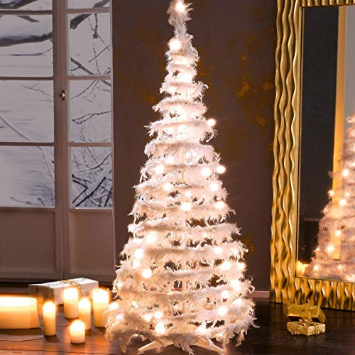 Deko-Tannenbaum aus Federn mit Beleuchtung Weiß