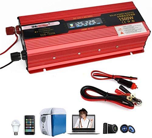 Inversor puro sine 1500w / 3000watt 12V 24V a 110V 220V convertidor de inversor de inversor con convertidor de voltaje con zócalo y conexión de voltaje LED de conexión USB para automóvil, caravana, ba