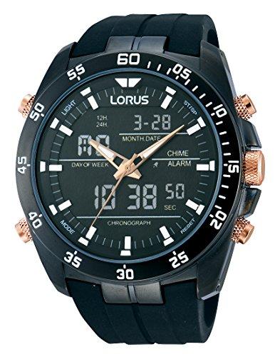 Lorus Sport Herren-Uhr Chronograph Edelstahl mit Silikonband RW615AX9