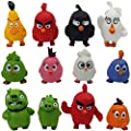 Jubasix 12 Pcs Birds Figures, Mini Angr Figure Playset Toys - Animal Bird Figure Characters Toys - Mini Figure Collection Playset, Cupcake Topper, Cake Toppers, Cake Decoration