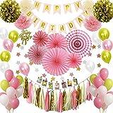 Hanakaze 誕生日ピンク飾り付け セット 豪華100点 バースデー 飾ケーキデコレーション、フォトクリップ、ペーパーファン、ペーパー フラワー、誕生日のバナー、タッセルガーランド、星 ガーランド、風船を含む