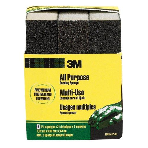 3M Sanding Sponge, Fine/Medium, 3.75-Inch by 2.625-Inch by 1-Inch, 3-Pack - 908NA-3P-CC, Black/White