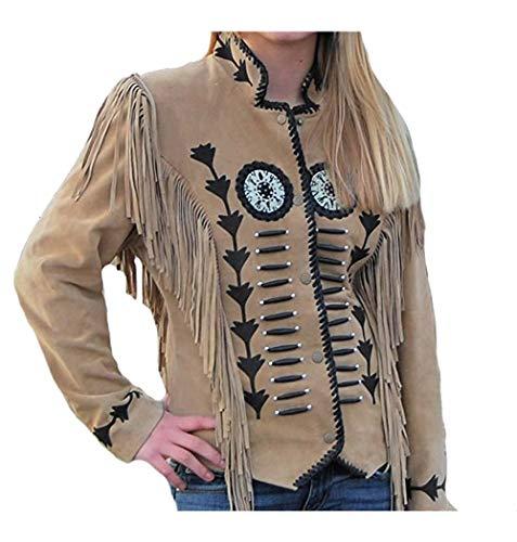 Classyak Western - Chaqueta de piel con flecos, deshuesados y cuentas bordada para mujer, talla XXL, color marrón