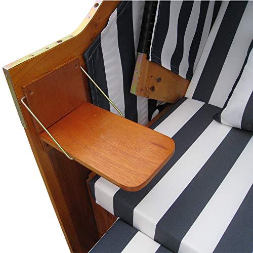 Zweisitzer Strandkorb mit klappbarer Rückenlehne für 2 Personen 118 x 80 x 160 cm (Blau / Weiss) - 5