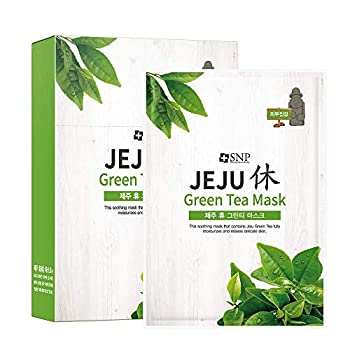 SNP - Jeju Rest Green Tea Korean Face Sheet Mask - Maximum Hydration & Protection for All Dry Skin Types - 10 Sheets Beauty Facial Masks Skincare for Women and Men