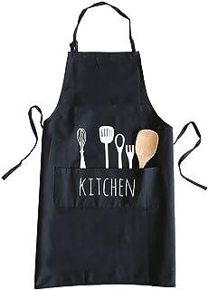 Kitchen Cooking Apron Pockets, 28 x 23 Inch Creative Fork & Spoon Pattern Baking BBQ Apron, Adjustable Neck Straps Working Uniform, Ideal Men Women Chef Waiter Beautician