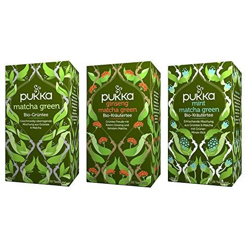 Pukka Bio-Tee Set Matcha mit den Teesorten Matcha Green, Mint Matcha und Ginseng Matcha Green. Auswahl an Bio-Grüntees, 100% bio, fair und nachhaltig (3 Teepackungen á 20 Teebeutel)