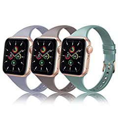 CLASSIC FASHION DESIGN: Classic sport silicone Apple Watch bands perfectly design for iWatch 38mm/40mm 42mm/44mm Series 5, Series 4, Series 3, Series 2, Series 1. High-quality Apple Watch fitness tracker replacement bands that are skin-friendly, soft...