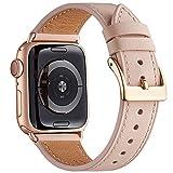 QAZNZ Correas de cuero para Apple Watch 40 mm 38 mm 44 mm 42 mm, Hombres Mujeres Reemplazo de correa para iWatch Series 6 5 4 3 2 1 & SE (38mm 40mm, Arena rosa/Oro rosa)