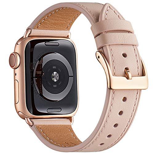 QAZNZ Cinturino Compatibile per Apple Watch 40mm 38mm 44mm 42mm, Cinturino in vera pelle di ricambio per iWatch Series SE 6 5 4 3 2 1 (38mm 40mm, Sabbia rosa/Oro rosa)