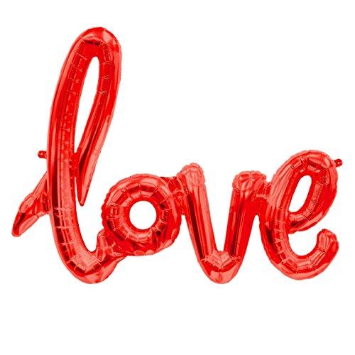 ballonfritz® Love-Schriftzug Luftballon in Rot - XXL Folienballon als Hochzeit Deko, Geschenk oder Liebes-Überraschung zum Valentinstag