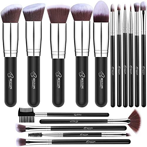 BESTOPE Makeup Brushes 18 Pieces Makeup Brush Set (Silver)