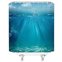 ランドスケープシャワーカーテンサマーシーウォータービーチヨットグリーンプラントカモメフェリーバスルームの装飾防水布カーテン - 180X230CM