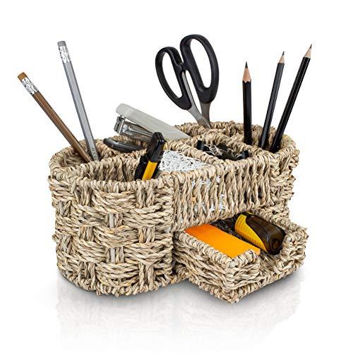 Woven Wicker Seagrass Desk Organizer | Office Decor Mesh Holder for Pencil | Handmade Stationery Pen Supplies Basket