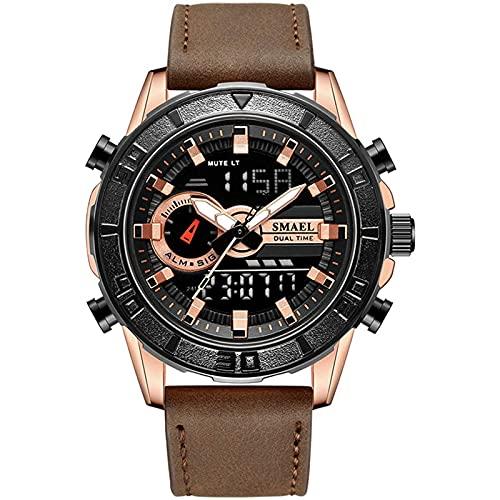 LDJ Reloj Deportivo para Hombres, Temporizador de Pulsera Digital Temporizador a Prueba de Agua Cuarzo analógico Deportivo Multifuncional Gimnasio Calendario Cronómetro(D)