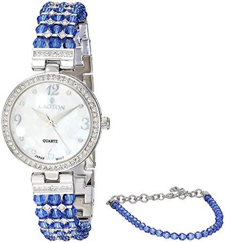 Croton Damen blau Swarovski Bead Uhr mit österreichischen Kristallen und abgestimmte Armband–cn207563rhbl