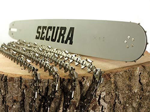 Secura 4 Kettensägenkette und 1 Schwert für Kettensäge von Stihl | Sägekette 35 cm 14 Zoll Halbmeisselausführung | 50 Treibglieder 1,3 mm Breite 3/8 Teilung | Ersatz Kette für Motorsäge Benzin