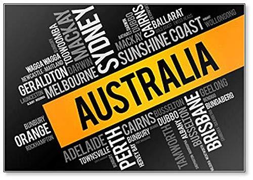 Imán para nevera, diseño de lista de ciudades y pueblos en Australia