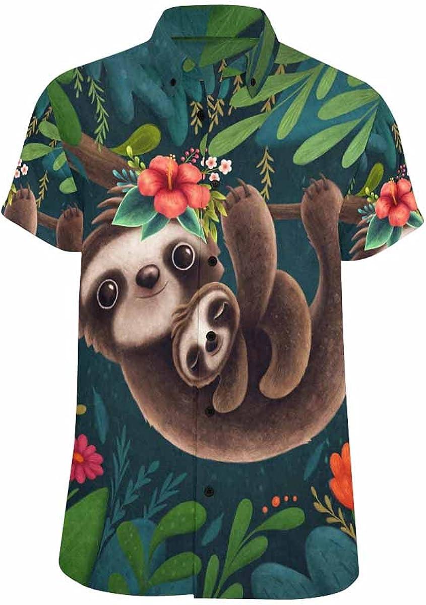InterestPrint Cute Sloths Relax Spread Hawaiian Portland Mall Tops Collar Casu free shipping