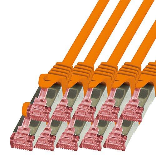 BIGtec - 10 Stück - 0,15m Netzwerkkabel Patchkabel Ethernet LAN DSL Patch Kabel Gigabit orange ( 2x RJ-45 Anschluß , CAT6 , doppelt geschirmt ) 0,15 Meter