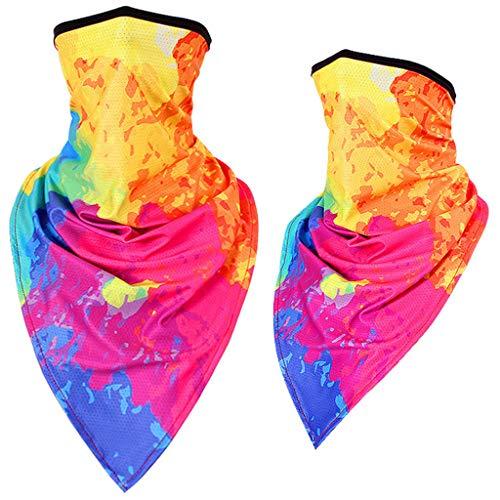 Kobay 2PC Unisex Rave Bandana Neck Gamasche Rohr Kopfbedeckung für Frauen Männer Gesicht Schal Cashew Blume Eis Seide Gesichtstuch