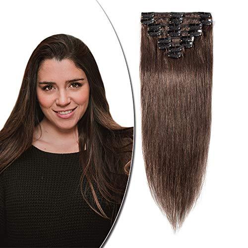 Extension a Clip Cheveux Naturel Type Fin - Rajout Vrai Cheveux Humain - 8 Bandes (#04 Châtain, 25 cm (50 g))