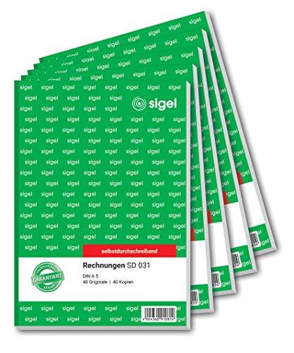 SIGEL SD031 Rechnungen, A5, 2x40 Blatt, selbstdurchschreibend, 5er Pack