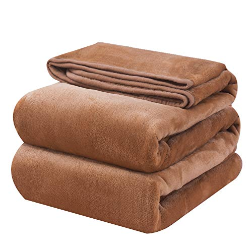 OBOEY Kuscheldecke Kamel 150x220cm Polare Fleecedecke als Sofadecke, Bequeme & Warme Tagesdecke, Weiche & Bequeme Wohndecke, Flauschige Bettdecke