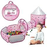 Riosupply - Tienda de juegos para niños, 3 en 1, portátil, transpirable, con túnel y piscina con bolas
