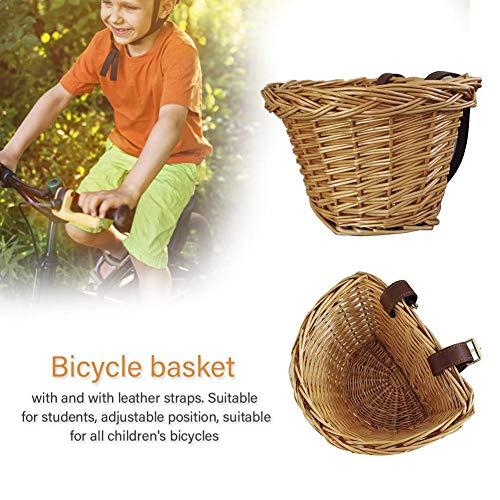 Eillybird Fietsmand vooraan stuurmand rieten mand fietsmand hangmand vooraan fietsaccessoires kinderen fiets rotan mand met lederen riemen verstelbaar - geschikt voor alle kinderfietsen