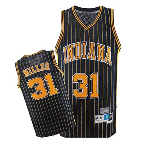Maglia da Uomo - NBA Reggie Miller # 31 Indiana Pacers Basket Senza Maniche Top Fan T-Shirt retrò Versione Traspirante,Nero,M170~175cm/65~75kg