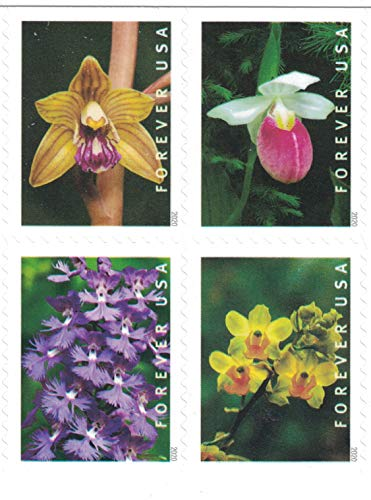USPS Wild Orchids Forever Stamps - Booklet of 20 Postage Stamps (20 Stamps)